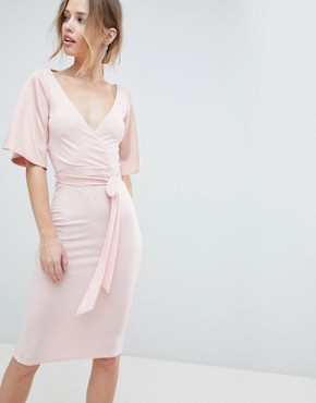 photo Wrap Front Midi Dress with Open Back and Tie by Silver Bloom, color Pink - Image 1