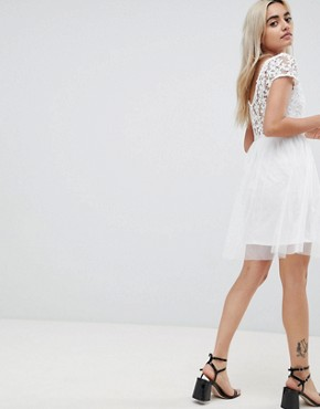 photo Lace Prom Dress by Vero Moda Petite, color Snow White - Image 2