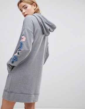 photo Hooded Sweatshirt Dress with Embroidery by Hollister, color Grey - Image 2