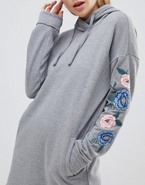 photo Hooded Sweatshirt Dress with Embroidery by Hollister, color Grey - Image 3