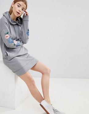 photo Hooded Sweatshirt Dress with Embroidery by Hollister, color Grey - Image 4