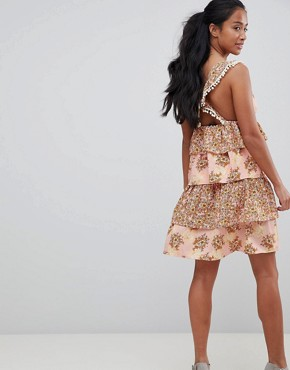 photo Floral Tiered Mini Dress with Pom Poms by Vero Moda Petite, color Rose Tan Aop - Image 2