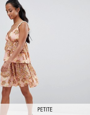 photo Floral Tiered Mini Dress with Pom Poms by Vero Moda Petite, color Rose Tan Aop - Image 1