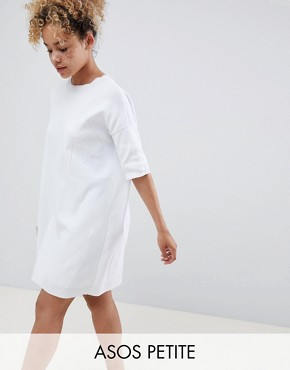 photo Knitted t-shirt Dress with Pointelle Stitch Detail by ASOS DESIGN Petite, color White - Image 1