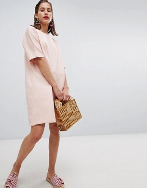 photo Short Sleeved Sweat Dress by Pieces, color Evening Sand - Image 1