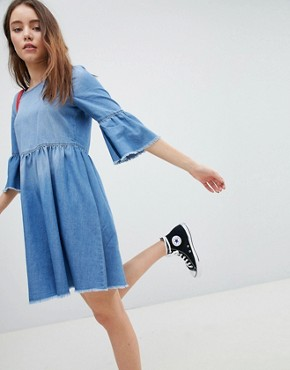 photo Denim Skater Dress by JDY, color Medium Blue Denim - Image 1
