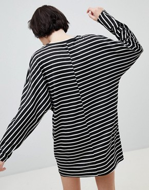 photo Stripe Jersey Tunic Dress by New Look, color Black Pattern - Image 2