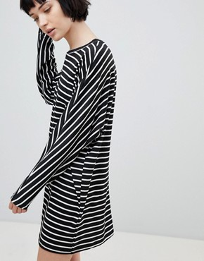 photo Stripe Jersey Tunic Dress by New Look, color Black Pattern - Image 4