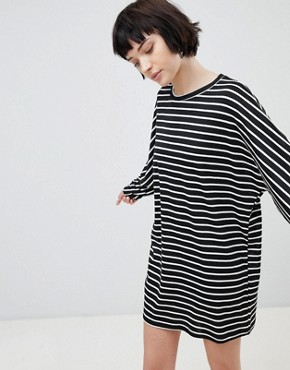 photo Stripe Jersey Tunic Dress by New Look, color Black Pattern - Image 1