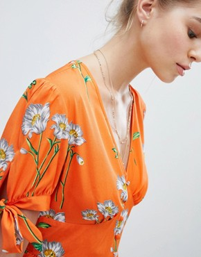 photo Tea Dress with Tie Sleeves in Daisy Print by Wednesday's Girl, color Orange Floral - Image 3