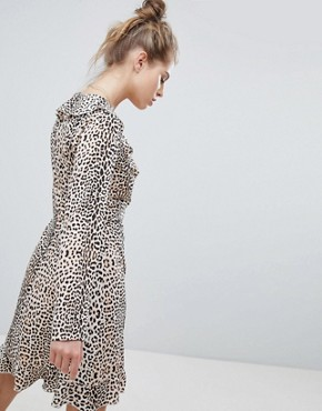photo Wrap Dress with Ruffles in Leopard Print by Wednesday's Girl, color Leopard - Image 2
