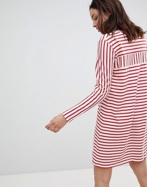 photo Signature Striped Dress in Organic Cotton by Mads Norgaard, color Ecru/Red - Image 2