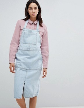 photo Denim Pinafore Dress by Mads Norgaard, color Light Blue - Image 1