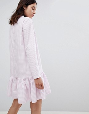 photo Drop Waist Gingham Dress by Mads Norgaard, color Rose/White - Image 2