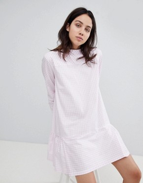 photo Drop Waist Gingham Dress by Mads Norgaard, color Rose/White - Image 1