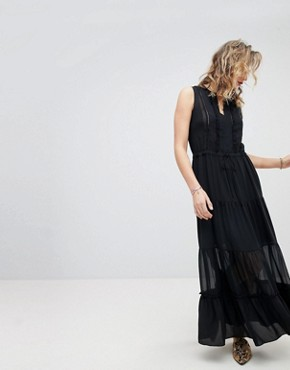 photo Sleeveless Silky Feel Maxi Dress by Maison Scotch, color Black - Image 1
