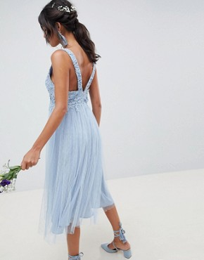photo Bridesmaid Dobby Mesh and Lace Mix Midi Dress by ASOS DESIGN, color Dusty Blue - Image 2