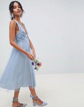 photo Bridesmaid Dobby Mesh and Lace Mix Midi Dress by ASOS DESIGN, color Dusty Blue - Image 1
