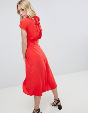 photo Button Through Midi Dress with Bow Back Detail by ASOS DESIGN Tall, color Orange - Image 2