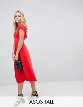 photo Button Through Midi Dress with Bow Back Detail by ASOS DESIGN Tall, color Orange - Image 1