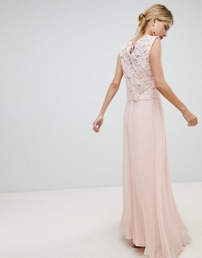 photo Occasion Lace Bodice Pleated Maxi Dress by Oasis, color Blush - Image 2