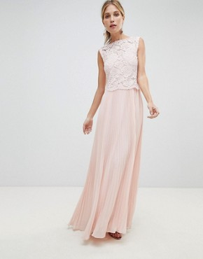 photo Occasion Lace Bodice Pleated Maxi Dress by Oasis, color Blush - Image 1