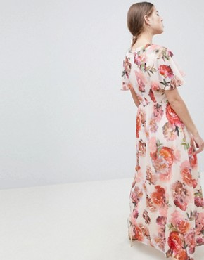 photo Rose Print Angel Sleeve Maxi Dress by Oasis, color Multi - Image 2