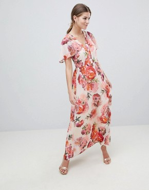 photo Rose Print Angel Sleeve Maxi Dress by Oasis, color Multi - Image 1