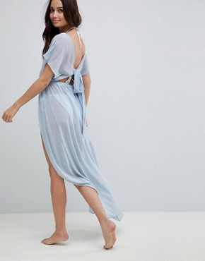 photo Floaty Chiffon Maxi Beach Dress with Tie Back by ASOS DESIGN, color Powder Blue - Image 2
