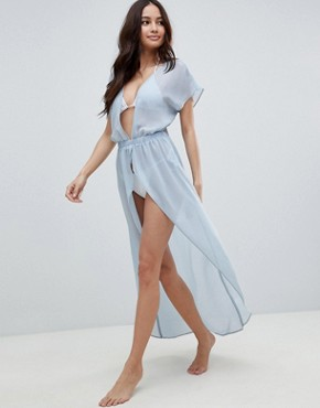 photo Floaty Chiffon Maxi Beach Dress with Tie Back by ASOS DESIGN, color Powder Blue - Image 1