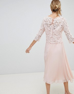 photo Occasion Long Sleeve Lace Bodice Pleated Maxi Dress by Oasis, color Pale Pink - Image 2