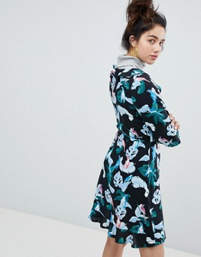 photo Tropical Bird Print Wrap Mini Dress by Monki, color Tropical Bird - Image 2