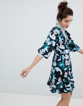 photo Tropical Bird Print Wrap Mini Dress by Monki, color Tropical Bird - Image 1