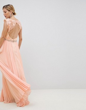 photo Tulle Maxi Dress by Jovani, color Peach - Image 2