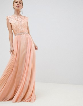 photo Tulle Maxi Dress by Jovani, color Peach - Image 1