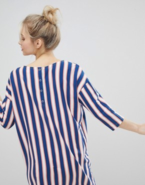 photo Stripe Pocket Front Smock Dress by Monki, color Stripe - Image 2
