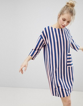 photo Stripe Pocket Front Smock Dress by Monki, color Stripe - Image 1