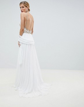 photo Embroided Bodice Maxi Dress by Jovani, color White - Image 2