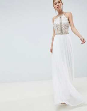 photo Embroided Bodice Maxi Dress by Jovani, color White - Image 1