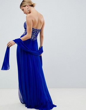 photo Embellished Maxi Prom Dress by Jovani, color Blue - Image 2