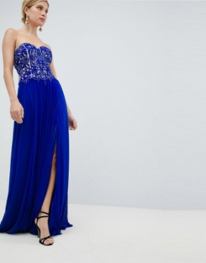photo Embellished Maxi Prom Dress by Jovani, color Blue - Image 1