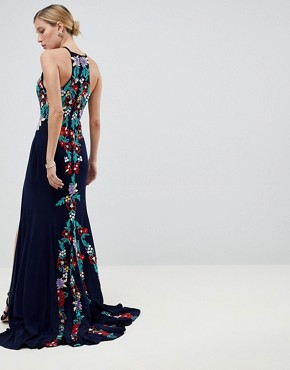 photo Embroided Keyhole Maxi Dress by Jovani, color Navy - Image 2