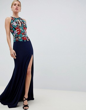 photo Embroided Keyhole Maxi Dress by Jovani, color Navy - Image 1
