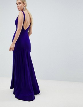 photo Slinky Plunge Pleated Maxi Dress by Jovani, color Blue - Image 2