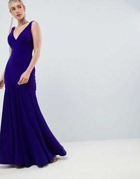 photo Slinky Plunge Pleated Maxi Dress by Jovani, color Blue - Image 1