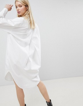 photo Oversized Shirt Dress by Monki, color White - Image 2