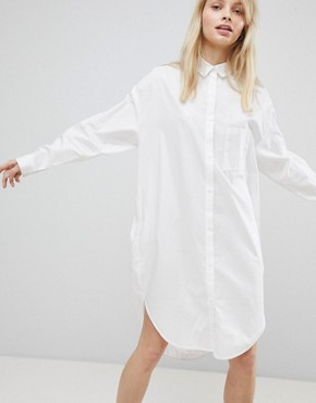 photo Oversized Shirt Dress by Monki, color White - Image 1