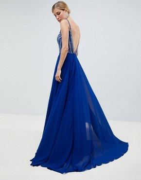 photo Deep Plunge Embellished Maxi Dress by Jovani, color Blue - Image 2