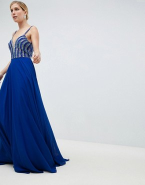 photo Deep Plunge Embellished Maxi Dress by Jovani, color Blue - Image 1