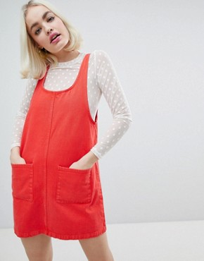 photo Denim Pocket Detail Denim Dress by Monki, color Red - Image 1